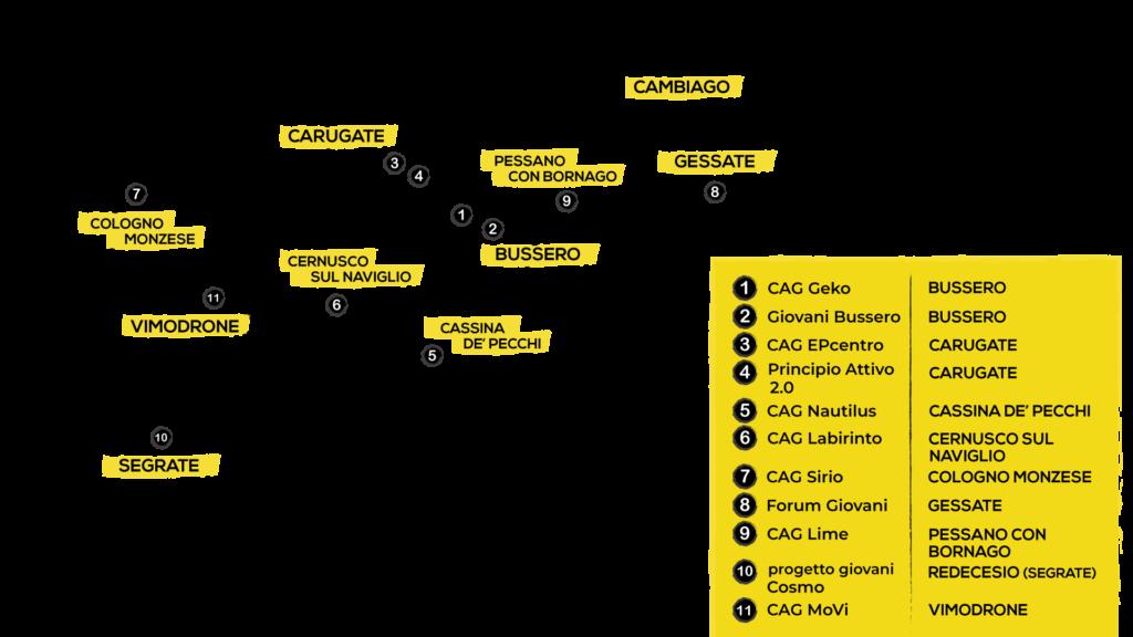 mappa del territorio coinvolto dal progetto con un focus sui servizi giovanili ivi presenti